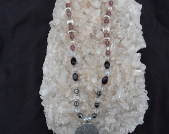Celtic Goddess Necklace with Amethyst and Hematitie