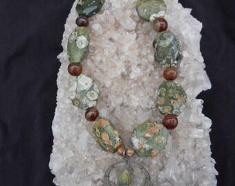 Genuine Ocean Jasper and Carnelian Necklace