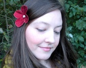 Botanical Hair Pin- Your Choice of Bobby Pin, Hair Clip, ot Brooch- Red with Coral Embroidery