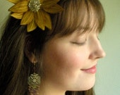Lotus Flower Headband- Sunglow Yellow with Dark Mustard and Lemon Yellow Embroidery- Embroidered and Beaded Lily Flower Headband