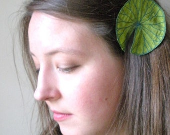 Lily Pad Clip- Your Choice of Hair Clip or Brooch- Apple Green with Teal Embroidery