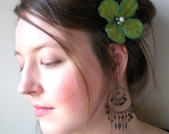 Botanical Hair Clip- You Choose Hair Clip, Bobby Pin, or Brooch- Apple Green with Teal Embroidery