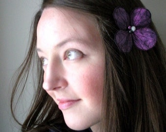 Botanical Hair Pin- Your Choice of Hair Clip, Bobby Pin, or Brooch- Purple with Black Embroidery