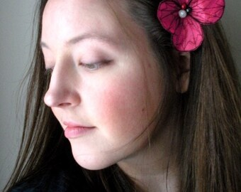 Botanical Hair Pin- Your Choice of Hair Clip, Bobby Pin, or Brooch- Shocking Pink with Black Embroidery