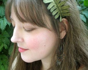Fern Leaf Headband- Olive Green with Sage Embroidery