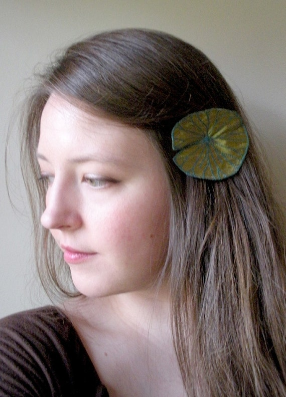 Lily Pad Clip- Your Choice of Hair Clip or Brooch- Olive Green with Teal Embroidery