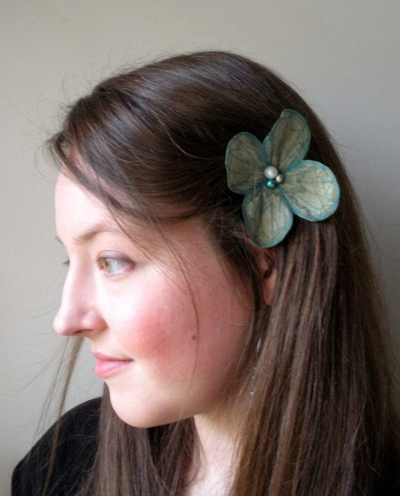 Botanical Hair Pin- Your Choice of Hair Clip, Bobby Pin, or Brooch- Shimmering Sage Green with Teal Embroidery