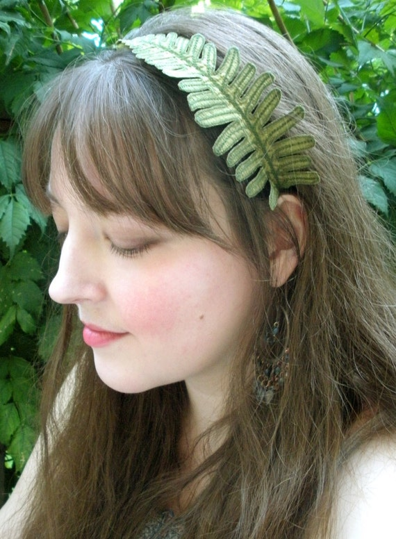 Fern Leaf Headband- Olive Green with Sage Embroidery