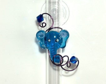 Blue Glass Elephant on Suction Cup Window Vase Hanging wired Flower Bud  Vase