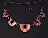 Copper Jewelry -  Greek Motif Jewelry - Collar - Handmade Necklace - Bridal Jewelry - Wedding necklace- handmade in Austin, Tx
