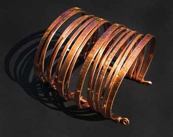 Copper Cuff Bracelet - Layered Bangles Bracelet - Nomadic - Handmade by me and each is ooak  - Unisex- handmade in Austin, Tx