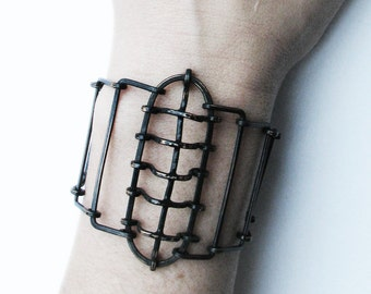 Cage Bracelet  - Armor Jewelry - handmade out of copper - long version - handmade jewelry- handmade in Austin, Tx