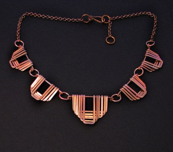 Copper Jewelry -  Greek Motif Jewelry - Collar - Handmade Necklace - Bridal Jewelry - Wedding necklace- handmade in Austin, Tx