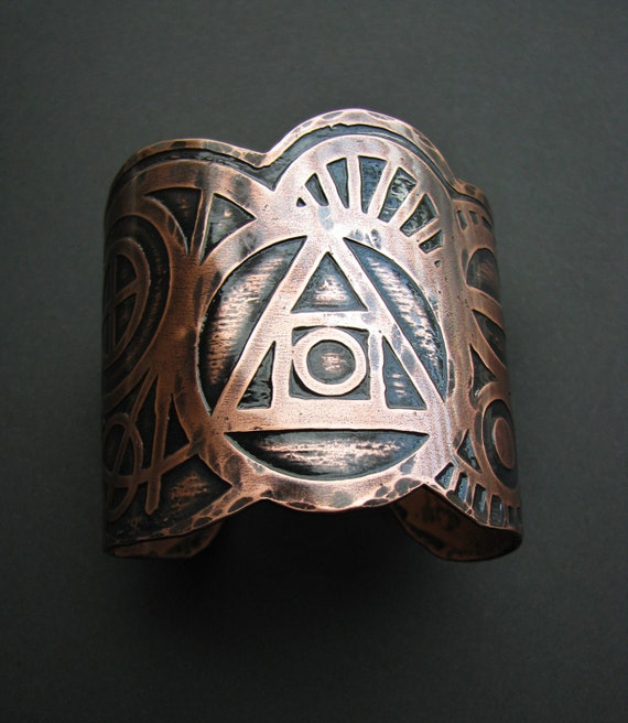 Etched Copper Cuff - Alchemy Cuff - Choose your own or order one similar to pictures - Made to order - handmade in my studio in Austin, Tx