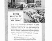 1950s Hotel Advertisement - Hilton San Antonio Texas - Vintage Antique Retro 50s Era Pop Art Ad for Framing 50 Years Old