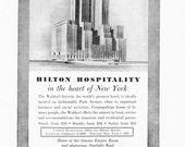 1950s Hotel Advertisement - Waldorf Astoria Hilton New York City - Vintage Antique Retro 50s Era Pop Art Ad for Framing 50 Years Old