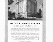 1950s Hotel Advertisement - Plaza Hilton New York City - Vintage Antique Retro 50s Era Pop Art Ad for Framing 50 Years Old
