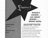 1950s Hotel Advertisement - Stardust Resort Las Vegas Nevada - Vintage Antique Retro 50s Era Pop Art Ad for Framing 50 Years Old