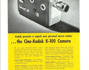 1950s Advertisement - Kodak Camera - Vintage Antique Retro 50s Era Pop Art Ad for Framing 50 Years Old