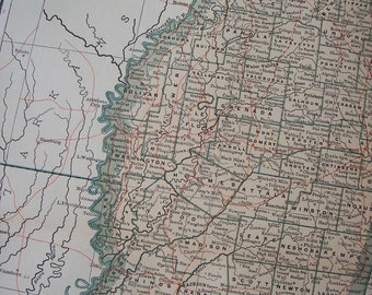 1903 State Map Mississippi - Vintage Antique Map Great for Framing 100 Years Old