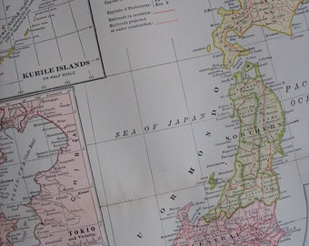 1903 Map Japan - Vintage Antique Map Great for Framing 100 Years Old
