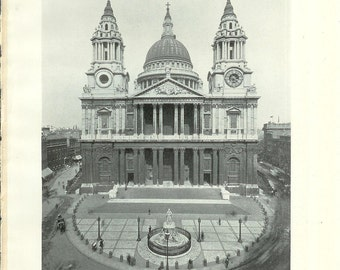 1909 Architecture Photograph - St. Paul's Cathedral London England - Vintage Antique Art Print History Great for Framing 100 Years Old