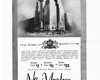 1950s Hotel Advertisement - The New Yorker New York City - Vintage Antique Retro 50s Era Pop Art Ad for Framing 50 Years Old