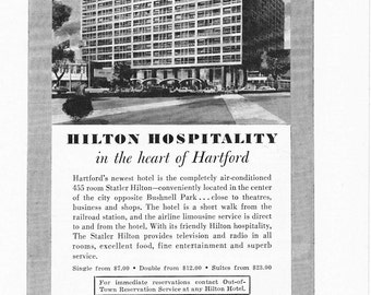1950s Hotel Advertisement - Statler Hilton Hartford Connecticut - Vintage Antique Retro 50s Era Pop Art Ad for Framing 50 Years Old