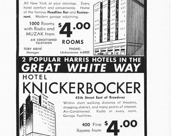 1950s Hotel Advertisement - Times Square Hotels New York City - Vintage Antique Retro 50s Era Pop Art Ad for Framing 50 Years Old
