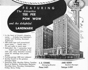 1950s Hotel Advertisement - Hotel Cornhusker Lincoln Nebraska - Vintage Antique Retro 50s Era Pop Art Ad for Framing 50 Years Old