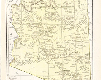 1916 State Map Arizona - Vintage Antique Map Great for Framing