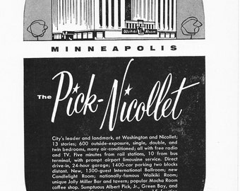 1950s Hotel Advertisement - Park Nicollet Minneapolis Minnesota - Vintage Antique Retro 50s Era Pop Art Ad for Framing 50 Years Old