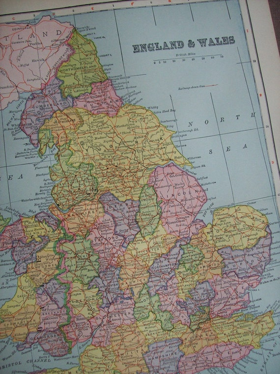 1903 Map England and Wales - Vintage Antique Map Great for Framing 100 Years Old