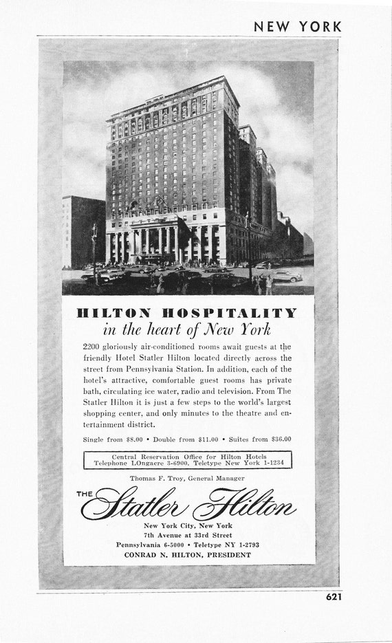 1950s Hotel Advertisement Statler Hilton New York City