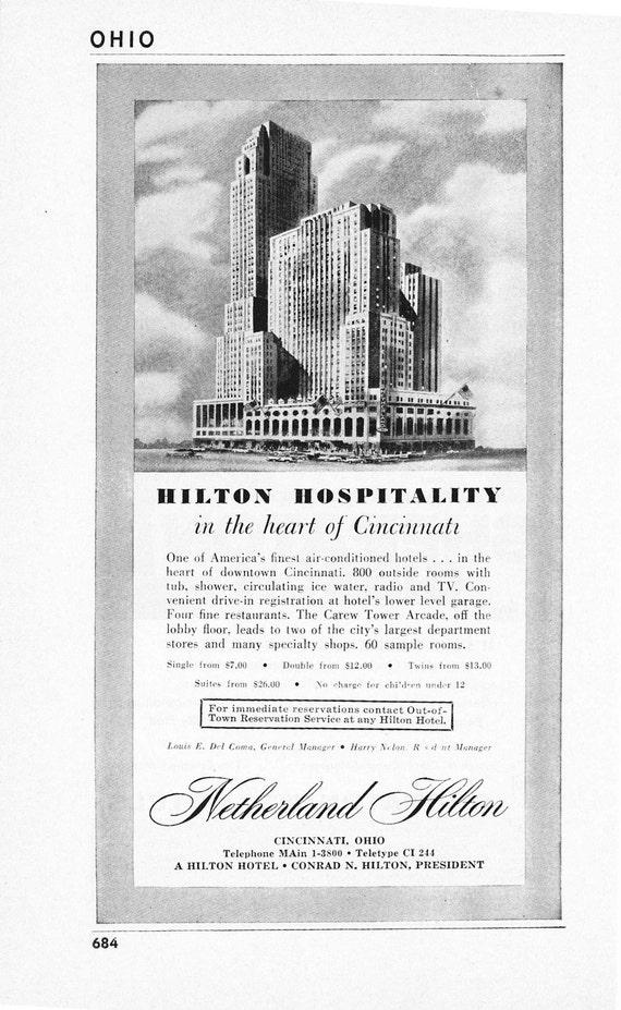 1950s Hotel Advertisement - Netherland Hilton Cincinnati Ohio - Vintage Antique Retro 50s Era Pop Art Ad for Framing 50 Years Old