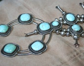 On Huge  Sale Vintage NAVAJO  Native American 1950s Sterling Silver Turquoise Squash Blossom Necklace