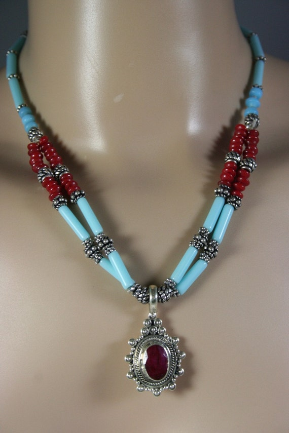 RESERVED please do not buy Vintage Tribal Turquoise and Coral Beaded Necklace With  Ruby  Pendant
