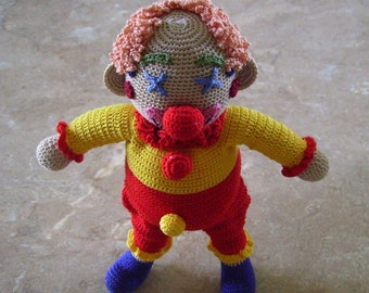 Bonnie's Crochet Cotton Thread Smily The Curly  Red/Nose Clown Not a Toy