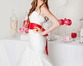 Red Wedding Sash, Bridal Sash --  A Long Satin Ribbon Sash for your Wedding Dress