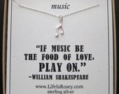 Musical Note Necklace - Music Necklace - Gifts for Music Lovers - Music Teacher Gift - Piano Teacher Gift - Quote Card