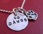 Go Dawgs - Paw Print Necklace or Keyring - Paw Print Jewelry - Bulldog Necklace - Bulldog Jewelry - MSU Charm Necklace