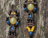 Beaded Dangle Macrame  Earrings ~ Blue, Yellow, Black and Brown ~ Macrame Jewelry