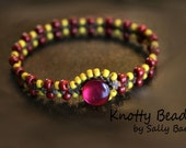 Just For Her Macrame Bracelet ~ Deep Red and Yellow ~ Macrame Jewelry