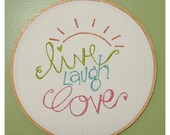 Live Laugh Love Handstitched Embroidery Wall Decor