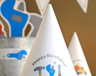 Under Construction Birthday PRINTABLE Party Collection - You Customize EDITABLE TEXT >> Instant Download | Paper and Cake