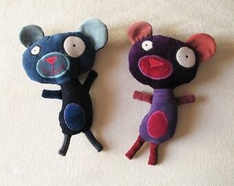 Purple Plush Bear - Quirky, cartoon-like teddybear, stuffed doll, recycled fabrics, one of a kind, velvet