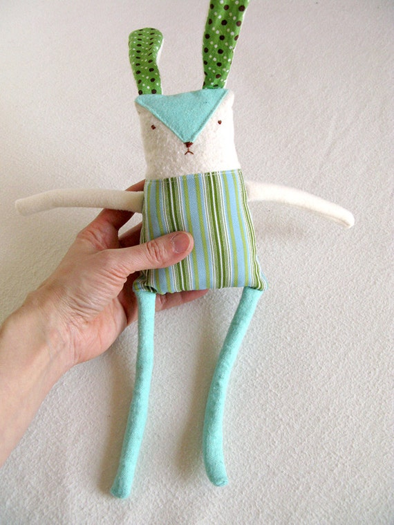 Plush Rabbit Doll, Recycled Fabric, Soft Bunny, Made to Order