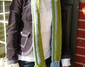 Organic Cotton Striped Scarf in lime green and sky blue