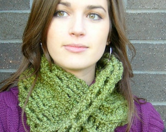 Olive Green Twisted Cowl