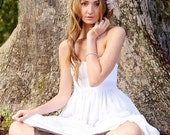 Simple Linen Wedding Dress in Pure Linen Strapless Sweetheart w Empire Waist and Hidden Pockets